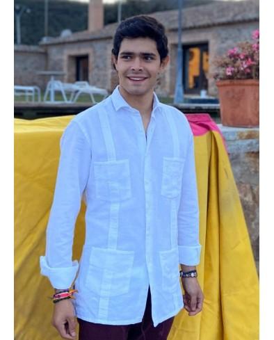 Guayabera Lino color blanca